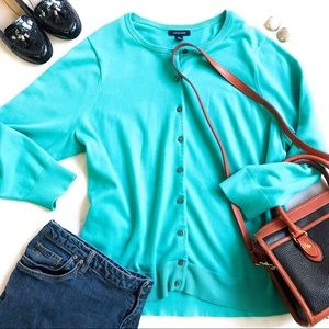 Lands' End Turquoise Cotton Knit Cardigan